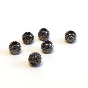 Silverpärlor svart, facett